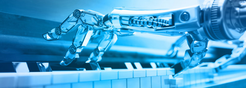Robot playing a piano
